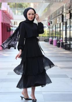 Kat Kat Şifon Elbise Siyah