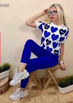 Kalp Baskılı Bluz Pantolon İkili Takım (Sax)