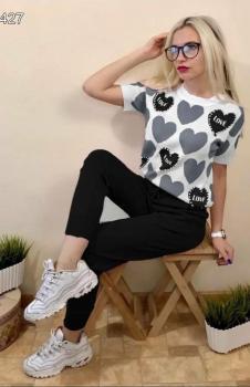 Kalp Baskılı Bluz Pantolon İkili Takım (Siyah)