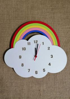 Meleğim Renkli Gökkuşağı Model Ahşap Çocuk Odası Duvar Saati