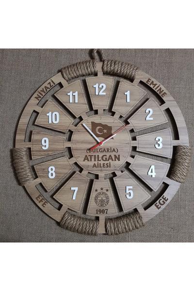 Meleğim 50 cm Ahşap Duvar Saati 6 satın al