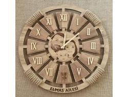 Meleğim 40 cm Ayna Rakamlı Ahşap Duvar Saati