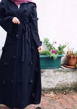 Dubai Krep Kumaş Çiçekli Abaya
