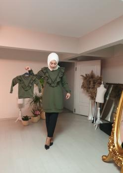Anne Kız Fırfır Detaylı Sweatshirt 005
