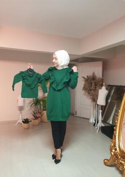 Anne Kız Fırfır Detaylı Sweatshirt 007