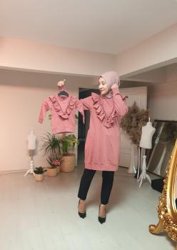 Anne Kız Fırfır Detaylı Sweatshirt 008