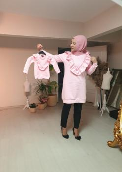Anne Kız Fırfır Detaylı Sweatshirt 009