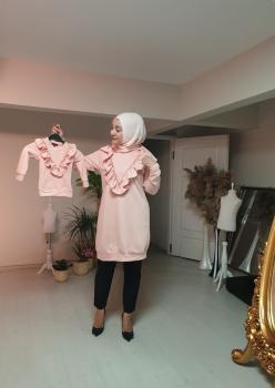 1 Anne 2 Kız Fırfı Detaylı Sweatshirt 001