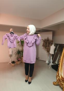 1 Anne 2 Kız Fırfı Detaylı Sweatshirt 002