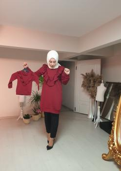 1 Anne 2 Kız Fırfı Detaylı Sweatshirt 003