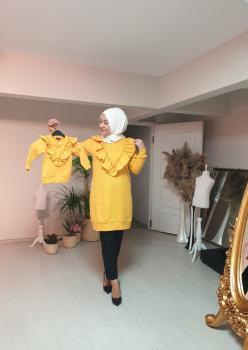 1 Anne 2 Kız Fırfı Detaylı Sweatshirt 004