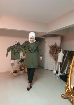 1 Anne 2 Kız Fırfı Detaylı Sweatshirt 005