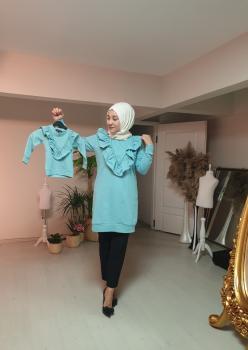 1 Anne 2 Kız Fırfı Detaylı Sweatshirt 006