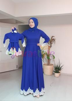 Anne Çocuk  Dantel Detaylı Elbise