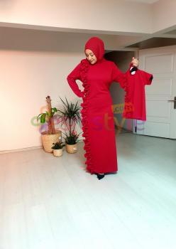 Anne Çocuk Önü Fırfır Detaylı Elbise Kırmızı