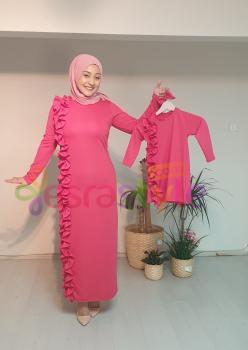 Anne Çocuk Önü Fırfır Detaylı Elbise Pembe