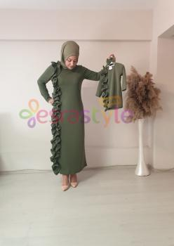 Anne Çocuk Önü Fırfır Detaylı Elbise Yeşil