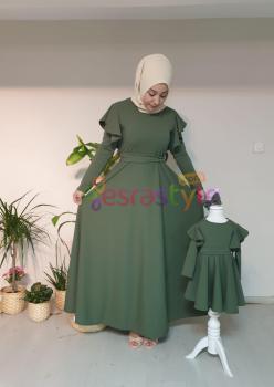 Anne Çocuk Haki Yeşil Elbise