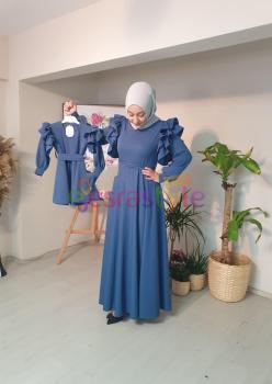 Anne Çocuk Mavi Fırfır Detaylı Elbise
