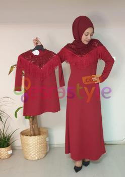 Anne Çocuk Payet ve Püskül Detaylı Elbise 001