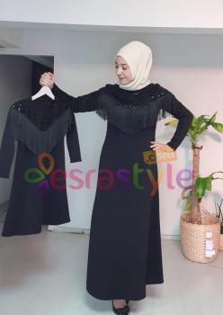 Anne Çocuk Payet ve Püskül Detaylı Elbise 002