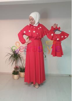 Anne Çocuk Yaka ve Çiçek Detaylı Elbise 001