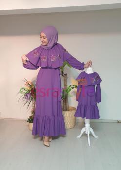 Anne Çocuk Yaka ve Çiçek Detaylı Elbise 002