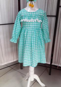 Yesil Ponpon Çocuk Elbise
