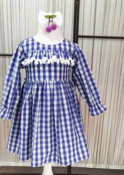 Lila Kiraz Ekose Çocuk Elbise