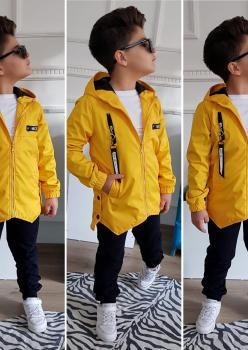 Üç Parça Erkek Çocuk Sarı Yağmurluk Takım