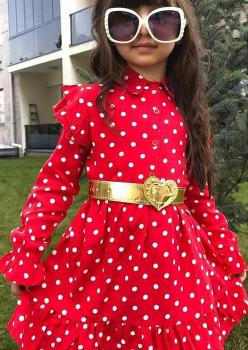 Kırmızı Puantiyeli Kız Çocuk Elbise