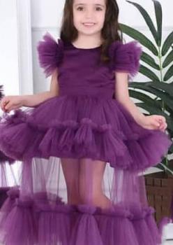 Mürdüm Renk Kız Çocuk Elbise Gelinlik