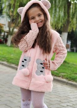 Peluş Kolları Çelik Örgü Kız Çocuk Ceket