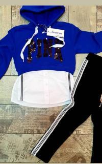 Kız Çocuk Payet Detaylı Eşofman Takımı Mavi