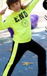 Kız Çocuk Payet Detaylı Eşofman Takımı Neon Yeşil