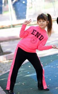 Kız Çocuk Payet Detaylı Eşofman Takımı Pembe