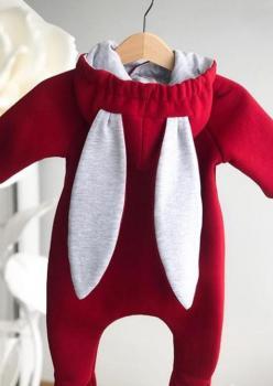 Tavşan Kulaklı Bebek Tulum Kırmızı