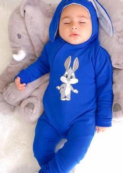 Tavşan Kulaklı Bebek Tulum Mavi