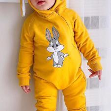 Tavşan Kulaklı Bebek Tulum Sarı