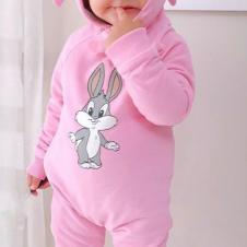 Tavşan Kulaklı Bebelk Tulum Pembe