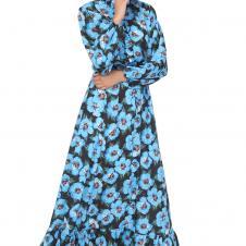 Mavi Çiçekli Yaka Fırfırlı Elbise