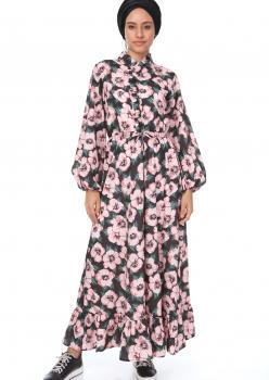 Pembe Çiçekli Yaka Fırfırlı Elbise