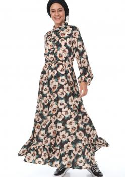 Vizon Çiçekli Yaka Fırfırlı Elbise