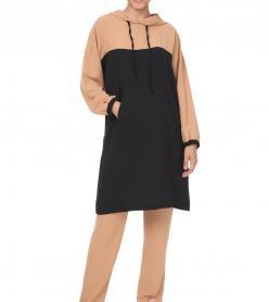 Camel Siyah Kapşonlu Tunik Pantolon Takım