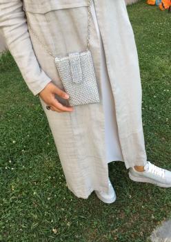 Gümüş Renk Abiye Çanta