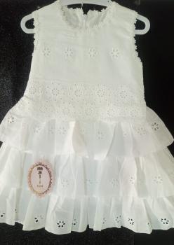 Beyaz Fistolu  Kız Çocuk  Elbise