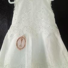 İnci İşlemeli Tül Detaylı Beyaz Kız Çocuk Elbise