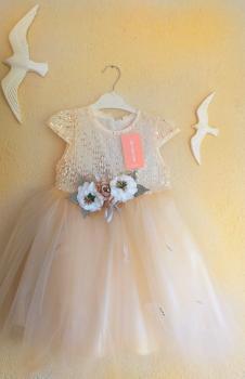 Kelebek Detaylı Tütülü Pullu Kız Çocuk Gelinlik Elbise