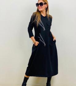 Yeni Sezon Fermuar Detaylı Siyah Elbise
