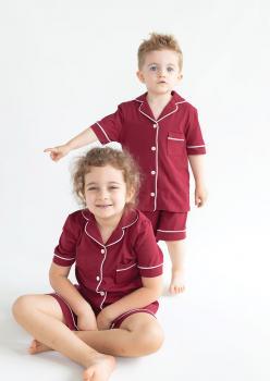 Sun Bordo Unisex Çocuk Pijama Takımı